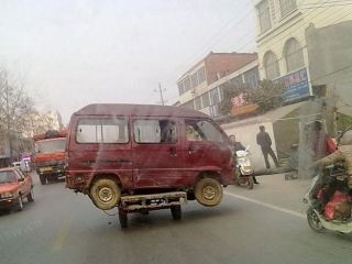 tricycle carrying minivan