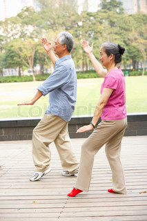 old couple tai chi