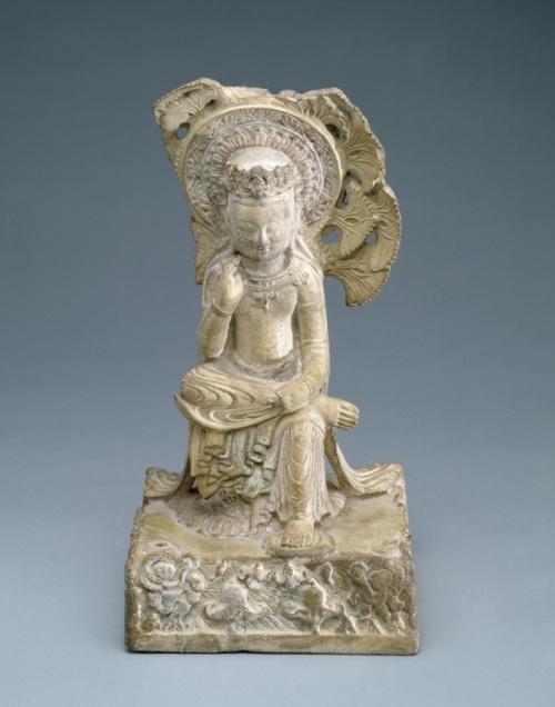 maitreya buddha under ginkgo