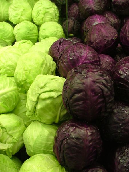 cabbage-green and purple