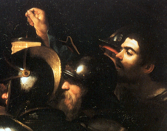 Caravaggio-Taking of Christ-self portrait