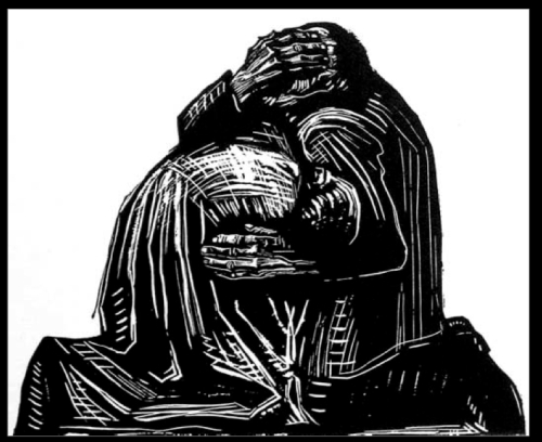 Kathe Kollwitz-grieving-parents-woodcut