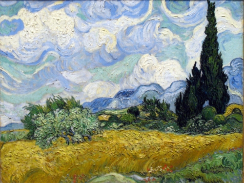 Van Gogh-Wheatfield with cypresses-1889