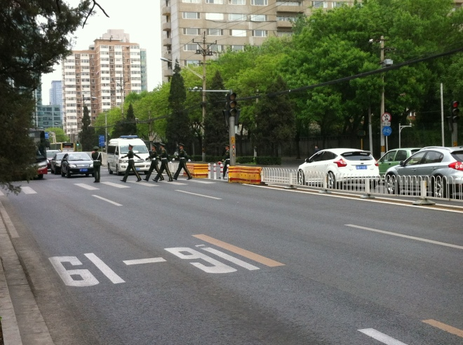 guards crossing the road 002
