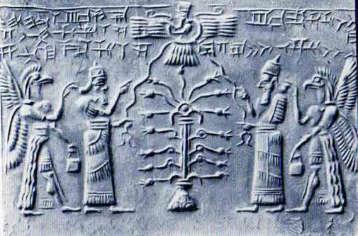 Assyrian priests with pomegranate tree
