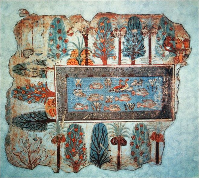 Egyptian wall painting 'Pond_in_a_Garden'