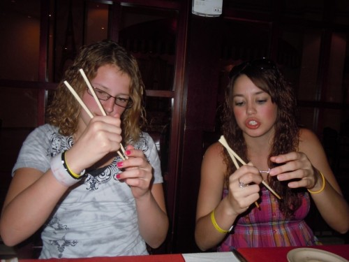 trying to use chopsticks