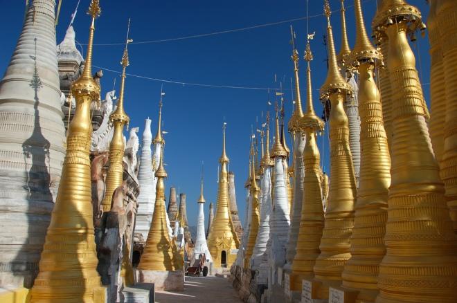 Shwe Inn Thein stupas at Indein, Inle Lake