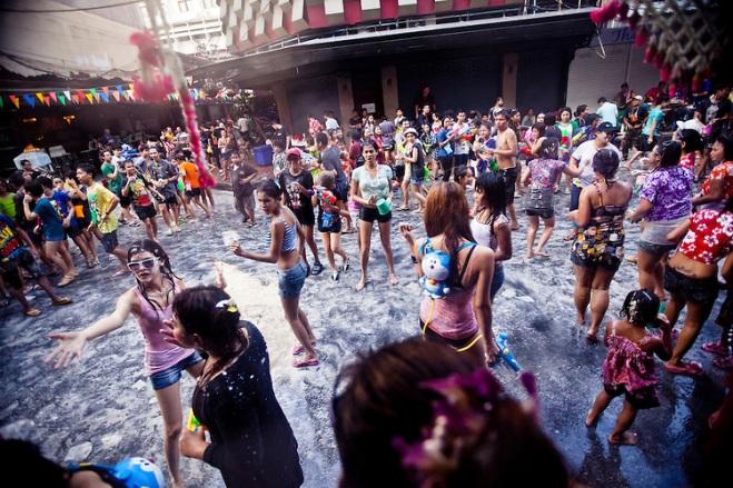 Songkran water festival in Bangkok, Thailand